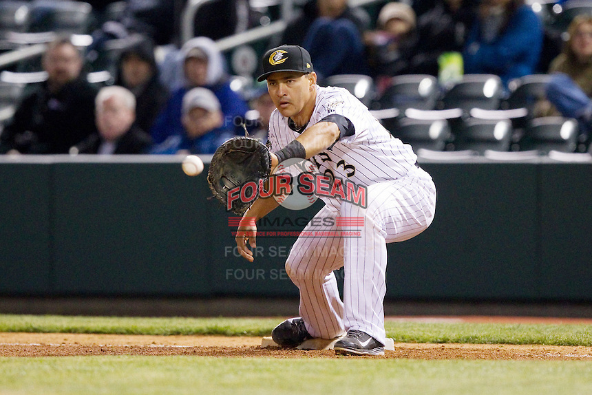 Hector Gimenez (23) of the Charlotte Knights waits for a throw at first base during the International League game against the Gwinnett Braves at BB&T Ballpark on April 16, 2014 in Charlotte, North Carolina.  The Braves defeated the Knights 7-2.  (Brian Westerholt/Four Seam Images)