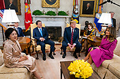 US President Donald J. Trump (C-R) welcomes Korean President Moon Jae-in (C-L) to the Oval Office of the White House while Mrs. Kim Jung-sook (L) and US First Lady Melania Trump (R) look on in Washington, DC, USA, 11 April 2019. President Moon is expected to ask President Trump to reduce sanctions on North Korea in an attempt to jump start nuclear negotiations between North Korea and the US.<br /> Credit: Jim LoScalzo / Pool via CNP