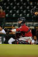 Fort Myers Miracle catcher Ben Rortvedt (15) during a Florida State League game against the Bradenton Marauders on April 23, 2019 at LECOM Park in Bradenton, Florida.  Fort Myers defeated Bradenton 2-1.  (Mike Janes/Four Seam Images)