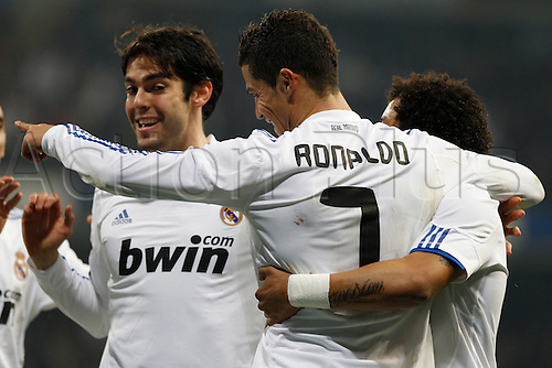 13.01.2011 Spanish Copa del Rey from the Santiago Bernebeu. Real Madrid vs At. Madrid 3-1. Picture shows  Kaka, Ronaldo and Marcelo celebrate a goal....