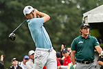 CROMWELL, CT. 20 June 2019-062019 - PGA Tour player Jordan Speith, left, tees off on the first hole as Phil Mickelson looks on,  during the first round of the Travelers Championship at TPC River Highlands in Cromwell on Thursday. Bill Shettle Republican-American