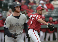 NWA Democrat-Gazette/ANDY SHUPE<br />Arkansas pitcher Kacey Murphy throws out South Carolina first baseman Madison Stokes Saturday, April 14, 2018, in the fourth inning at Baum Stadium. Visit nwadg.com/photos to see more photographs from the game.
