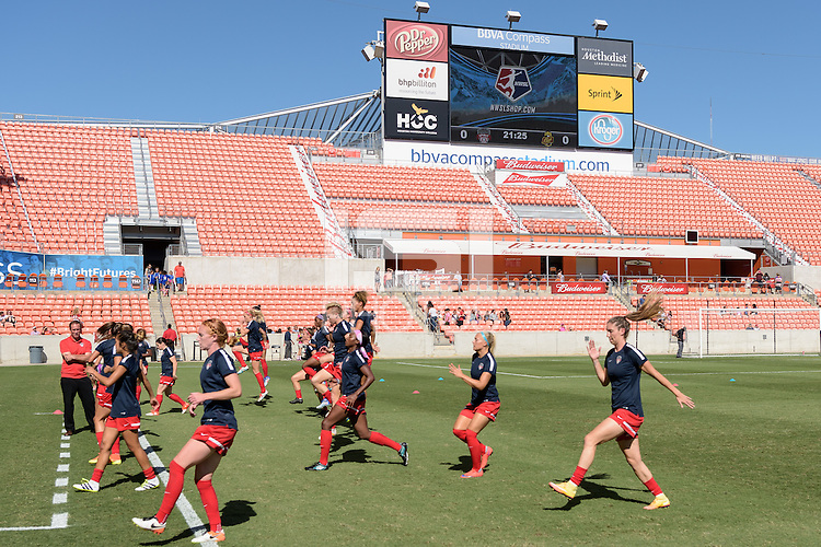 Houston, TX - Sunday Oct. 09, 2016: Washington Spirit prior to the National Women's Soccer League (NWSL) Championship match between the Washington Spirit and the Western New York Flash at BBVA Compass Stadium. The Western New York Flash win 3-2 on penalty kicks after playing to a 2-2 tie.