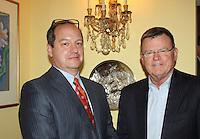 NWA Democrat-Gazette/CARIN SCHOPPMEYER Clay Davis (left) and Don Gibson visit at the UAMS NW reception.