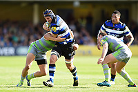 Paul Grant of Bath Rugby takes on the Newcastle Falcons defence. Aviva Premiership match, between Bath Rugby and Newcastle Falcons on September 23, 2017 at the Recreation Ground in Bath, England. Photo by: Patrick Khachfe / Onside Images