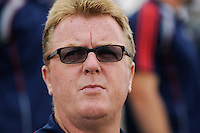 New England Revolution head coach Steve Nicol. The Philadelphia Union and the New England Revolution  played to a 1-1 tie during a Major League Soccer (MLS) match at PPL Park in Chester, PA, on July 31, 2010.