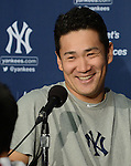 Masahiro Tanaka (Yankees),<br /> APRIL 4, 2014 - MLB :<br /> Masahiro Tanaka of the New York Yankees smiles during the press conference after the baseball game against the Toronto Blue Jays at Rogers Centre in Toronto, Ontario, Canada. Tanaka made his major league debut in the 7-3 Yankees win. (Photo by AFLO)