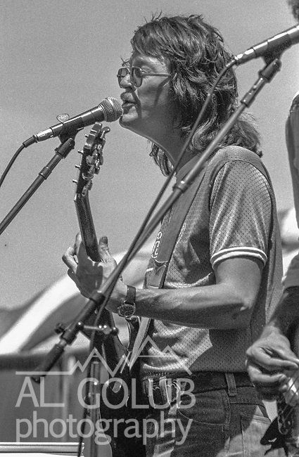 Third annual Mountain Aire Renaissance Fair and Musical festival produced by Rock'n Chair Productions.  On stage are Pure Prairie League on June 13, 1976 at the Calaveras County Fairground near Angle Camp California.  Photo by Al Golub