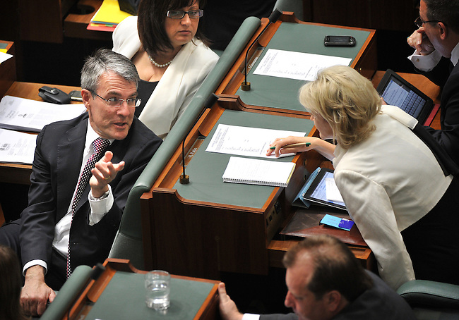 Mark Dreyfus QC, Cabinet Secretary, Parliamentary Secretary for Climate Change and Energy Efficiency, Parliamentary Secretary for Industry and Innovation, Federal Labor Member for Isaacs, speaks in the House of Representatives, Canberra. Photo:  Mark GRAHAM