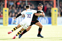 Jamie George of Saracens looks to get past Juan De Jongh of Wasps. Aviva Premiership match, between Saracens and Wasps on October 8, 2017 at Allianz Park in London, England. Photo by: Patrick Khachfe / JMP