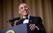 United States President Barack Obama speaks during the White House Correspondents' Association annual dinner on April 30, 2016 at the Washington Hilton hotel in Washington.This is President Obama's eighth and final White House Correspondents' Association dinner.<br /> Credit: Olivier Douliery / Pool via CNP