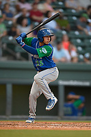 Shortstop Cristian Perez (15) of the Lexington Legends at bat during a game against the Greenville Drive on Sunday, September 2, 2018, at Fluor Field at the West End in Greenville, South Carolina. Greenville won, 7-4. (Tom Priddy/Four Seam Images)