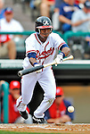 6 March 2012: Atlanta Braves outfielder Luis Durango lays down a bunt during a Spring Training game against the Washington Nationals at Champion Park in Disney's Wide World of Sports Complex, Orlando, Florida. The Nationals defeated the Braves 5-2 in Grapefruit League action. Mandatory Credit: Ed Wolfstein Photo