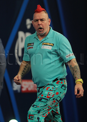 30.12.2015. Alexandra Palace, London, England. William Hill PDC World Darts Championship. Peter Wright looks to his supporters corner and shouts after throwing 180
