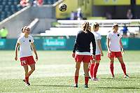 Portland, OR - Saturday August 05, 2017: Ashleigh Sykes during warmups before a regular season National Women's Soccer League (NWSL) match between the Portland Thorns FC and the Houston Dash at Providence Park.