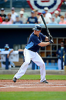 Tampa Bay Rays second baseman Kelly Johnson #2 during a Grapefruit League Spring Training game against the Boston Red Sox at Charlotte County Sports Park on February 25, 2013 in Port Charlotte, Florida.  Tampa Bay defeated Boston 6-3.  (Mike Janes/Four Seam Images)