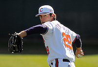 Clemson RHP David Haselden (29) prior to a game between the Charlotte 49ers and Clemson Tigers Feb. 22, 2009, at Doug Kingsmore Stadium in Clemson, S.C. (Photo by: Tom Priddy/Four Seam Images)