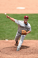 Mahoning Valley Scrappers pitcher J.P. Feyereisen (28) delivers a pitch during a game against the Jamestown Jammers on June 16, 2014 at Russell Diethrick Park in Jamestown, New York.  Mahoning Valley defeated Jamestown 2-1.  (Mike Janes/Four Seam Images)