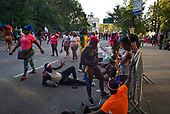 Park Slope , Brooklyn<br /> New York<br /> September 4, 2017<br /> <br /> Brooklyn (Rasta) Labor Day Parade or West Indian Day Parade, J'Ouvert festival.<br /> <br /> J&rsquo;Ouvert meaning &ldquo;day break&rdquo; is a celebration to commemorate the emancipation of slaves in Trinidad and it also marks the beginning of the West Indian celebration of culture that happens every year in Brooklyn.