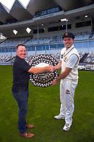Cricket Wellington's Chris Nevin congratulates Firebirds captain Michael Bracewell. The Wellington Firebirds celebrate winning the 2019-2020 Plunket Shield at Basin Reserve in Wellington, New Zealand on Thursday, 19 March 2020. Photo: Dave Lintott / lintottphoto.co.nz