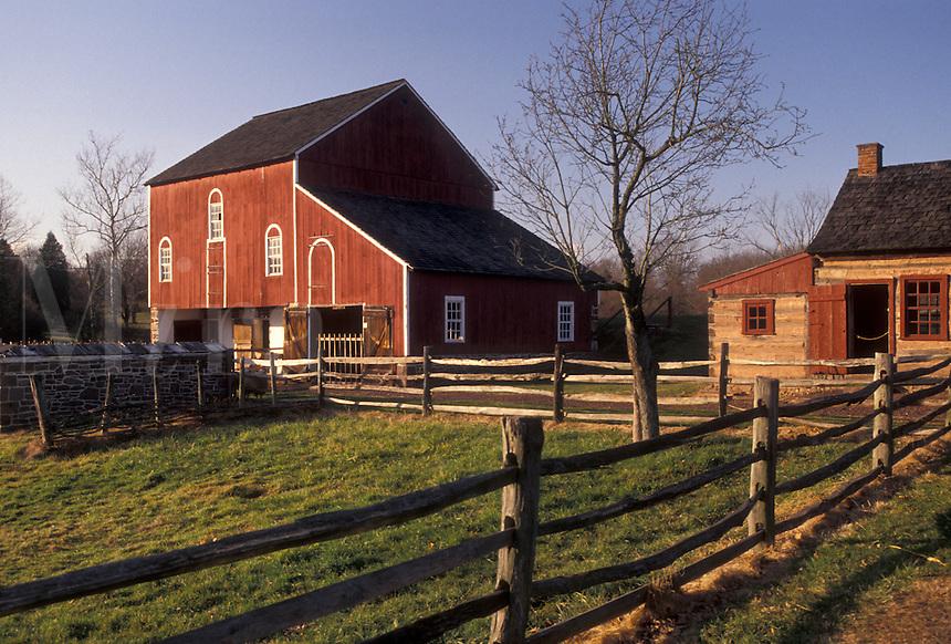 AJ3273, Daniel Boone Birthplace, Pennsylvania, Red barn and Blacksmith shop at Daniel Boone Homestead in Birdsboro in the state of Pennsylvania.