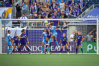 Orlando, FL - Saturday July 16, 2016: Kaylyn Kyle, Casey Short during a regular season National Women's Soccer League (NWSL) match between the Orlando Pride and the Chicago Red Stars at Camping World Stadium.