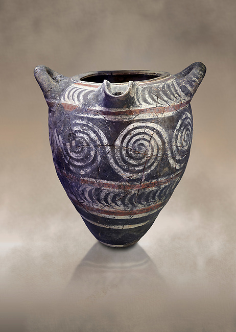 Minoan Kamares Ware pithos storage container  with swirl polychrome  decorations , Knossos 1800-1700 BC; Heraklion Archaeological  Museum.<br /> <br /> This style of pottery is named afetr Kamares cave where this style of pottery was first found