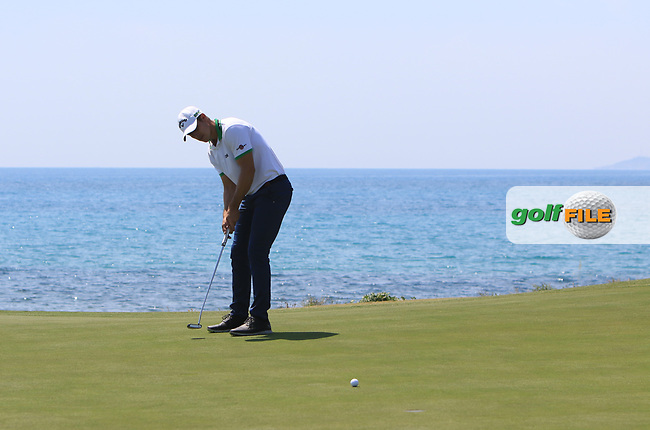 Andrea Pavan (ITA) on the 7th green during Round 1 of The Rocco Forte Open  at Verdura Golf Club on Thursday 18th May 2017.<br /> Photo: Golffile / Thos Caffrey.<br /> <br /> All photo usage must carry mandatory copyright credit     (&copy; Golffile | Thos Caffrey)