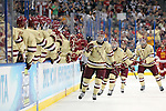 07 APR 2012:  Paul Carey (22) of Boston College slaps high fives after scoring a goal against Ferris State University during the Division I Men's Ice Hockey Championship held at the Tampa Bay Times Forum in Tampa, FL.  Boston College defeated Ferris State 4-1 to win the national title.  Matt Marriott/NCAA Photos