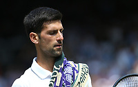 Novak Djokovic (SRB) during his match against Roberto Bautista Agut (ESP) in their Gentleman's Singles Semi-Final match<br /> <br /> Photographer Rob Newell/CameraSport<br /> <br /> Wimbledon Lawn Tennis Championships - Day 11 - Friday 12th July 2019 -  All England Lawn Tennis and Croquet Club - Wimbledon - London - England<br /> <br /> World Copyright © 2019 CameraSport. All rights reserved. 43 Linden Ave. Countesthorpe. Leicester. England. LE8 5PG - Tel: +44 (0) 116 277 4147 - admin@camerasport.com - www.camerasport.com