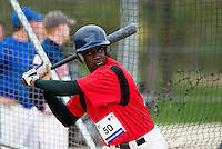 18 April 2006: Frederic Hanvi is seen at bat during the third of seven 2006 MLB European Academy Try-out Sessions throughout Europe, at Stade Pershing, INSEP, near Paris, France. Try-out sessions are run by members of the Major League Baseball Scouting Bureau with assistance from MLBI staff.