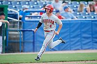 Auburn Doubledays second baseman Kyle Marinconz (4) runs home during a game against the Batavia Muckdogs on September 1, 2018 at Dwyer Stadium in Batavia, New York.  Auburn defeated Batavia 10-5.  (Mike Janes/Four Seam Images)