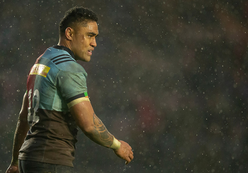 Harlequins' Francis Saili<br /> <br /> Photographer Bob Bradford/CameraSport<br /> <br /> European Rugby Challenge Cup Pool 5 - Harlequins v Benetton Treviso - Saturday 15th December 2018 - Twickenham Stoop - London<br /> <br /> World Copyright © 2018 CameraSport. All rights reserved. 43 Linden Ave. Countesthorpe. Leicester. England. LE8 5PG - Tel: +44 (0) 116 277 4147 - admin@camerasport.com - www.camerasport.com