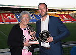 St Johnstone Player of the Year Awards 2014-15.....16.05.15<br /> Gertie Gordon presnts the George Gordon Clubman of the Year Award to Alan Mannus<br /> Picture by Graeme Hart.<br /> Copyright Perthshire Picture Agency<br /> Tel: 01738 623350  Mobile: 07990 594431