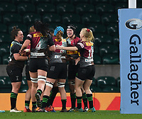28th December 2019; Twickenham, London, England; Big Game 12 Womens Rugby, Harlequins versus Leinster; Jess Breach of Harlequins celebrates with her team on scoring a try - Editorial Use