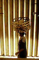 Woman with Basket on Head - Ubud Market, Bali, Indonesia