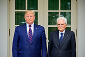 United States President Donald J. Trump and President Sergio Mattarella of the Italian Republic pose for a photo on the Colonnade of the White House in Washington, DC as they walk to the Oval Office on Wednesday, October 16, 2019.<br /> Credit: Ron Sachs / CNP