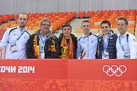 OLYMPICS: SOCHI: Adler Arena, 08-02-2014, Jelle Spruyt (trainer/coach), Herman Swings, Maarten Swings, Bart Swings (BEL), Ewen Fernandez (FRA), Maarten Thysen (fysio), ©foto Martin de Jong