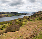 Landscape view of Ullswater lake, Lake District national park, England, Uk from near Sandwick