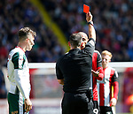 Leon Clarke of Sheffield Utd gets red card during the Championship League match at Bramall Lane Stadium, Sheffield. Picture date 19th August 2017. Picture credit should read: Simon Bellis/Sportimage