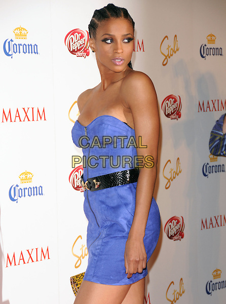 CIARA aka Ciara Princess Harris.The Maxim's Hot 100 List Party held at Barker Hangar in Santa Monica, California, USA..May 13th, 2009.full length purple strapless dress black belt hair braids plaits zip zipper .CAP/DVS.©Debbie VanStory/Capital Pictures.