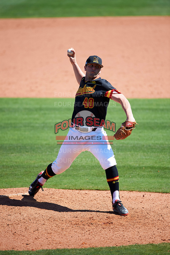 Maryland Terrapins pitcher Mike Rescigno (40) delivers a pitch during a game against the Alabama State Hornets on February 19, 2017 at Spectrum Field in Clearwater, Florida.  Maryland defeated Alabama State 9-7.  (Mike Janes/Four Seam Images)