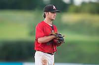Kannapolis Intimidators third baseman Grant Massey (16) on defense against the Greensboro Grasshoppers at Intimidators Stadium on July 17, 2016 in Greensboro, North Carolina.  The Grasshoppers defeated the Intimidators 5-4 in game two of a double-header.  (Brian Westerholt/Four Seam Images)