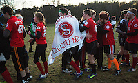 08 MAR 2015 - NOTTINGHAM, GBR - Southampton Quidditch Club players (in red) are congratulated on their victory in the 2015 British Quidditch Cup final at Woollaton Hall and Deer Park in Nottingham, Great Britain by silver medalists Radcliffe Chimeras (PHOTO COPYRIGHT © 2015 NIGEL FARROW, ALL RIGHTS RESERVED)