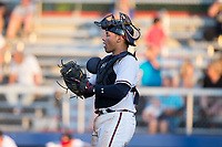 Danville Braves catcher William Contreras (24) on defense against the Princeton Rays at American Legion Post 325 Field on June 25, 2017 in Danville, Virginia.  The Braves walked-off the Rays 7-6 in 11 innings.  (Brian Westerholt/Four Seam Images)