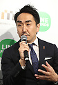 April 27, 2017, Tokyo, Japan - Japan's SNS giant LINE president Takeshi Idezawa speaks before press as LINE and Mitsukoshi Isetan Transit, a subsidiary of Mitsukoshi Isetan Holdings will open a pop-up cafe and character goods shop featuring LINE's famous characters in Tokyo on Thursday, April 27, 2017. The Shinjuku Box, run by Mitsukoshi Isetan Transit, will open cafes of Taiwan's ice dessert shop Ice Monster and US chocolate shop Max Brenner using LINE characters and LINE's character goods shop from April 28 near Shinjuku station.   (Photo by Yoshio Tsunoda/AFLO) LwX -ytd-