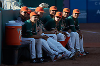 The Greensboro Grasshoppers bullpen watches the action during the game against the West Virginia Power at First National Bank Field on August 9, 2018 in Greensboro, North Carolina. The Power defeated the Grasshoppers 5-3 in game one of a double-header. (Brian Westerholt/Four Seam Images)