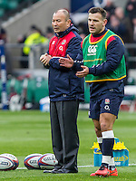 Eddie Jones, Head Coach and Danny Care during warm up, England v Ireland in a 6 Nations match at Twickenham Stadium, Whitton Road, Twickenham, England, on 27th February 2016