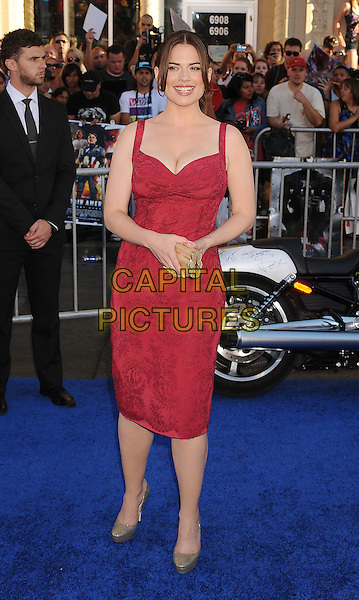 "Hayley Atwell.Premiere of ""Captain America: The First Avenger"" held at The El Capitan Theatre in Hollywood, California, USA..July 19th, 2011.full length pink dress  grey gray shoes clutch bag .CAP/ROT/TM.©Tony Michaels/Roth Stock/Capital Pictures"