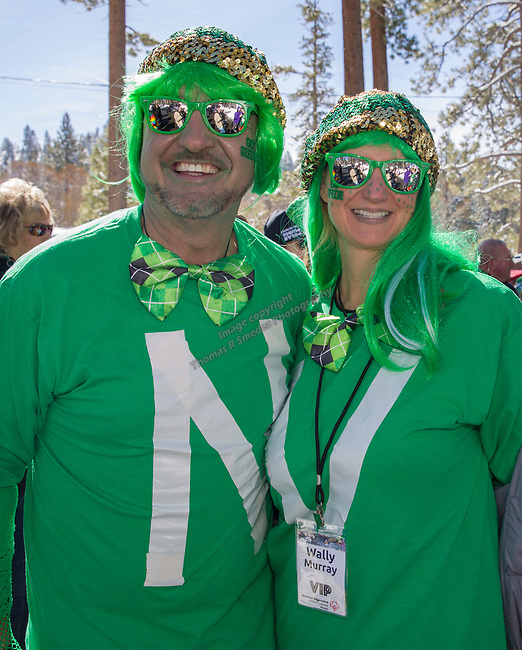 Wally Murray and Nicole Andazolal during the Polar Plunge at Zephyr Cove on Sunday, March 18, 2018.  The Polar Plunge benefits the Northern California and Northern Nevada Special Olympics.